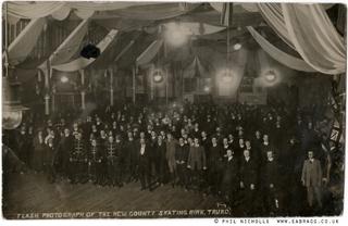 ea bragg, flash photograph, truro skating rink C.1910, phil nich