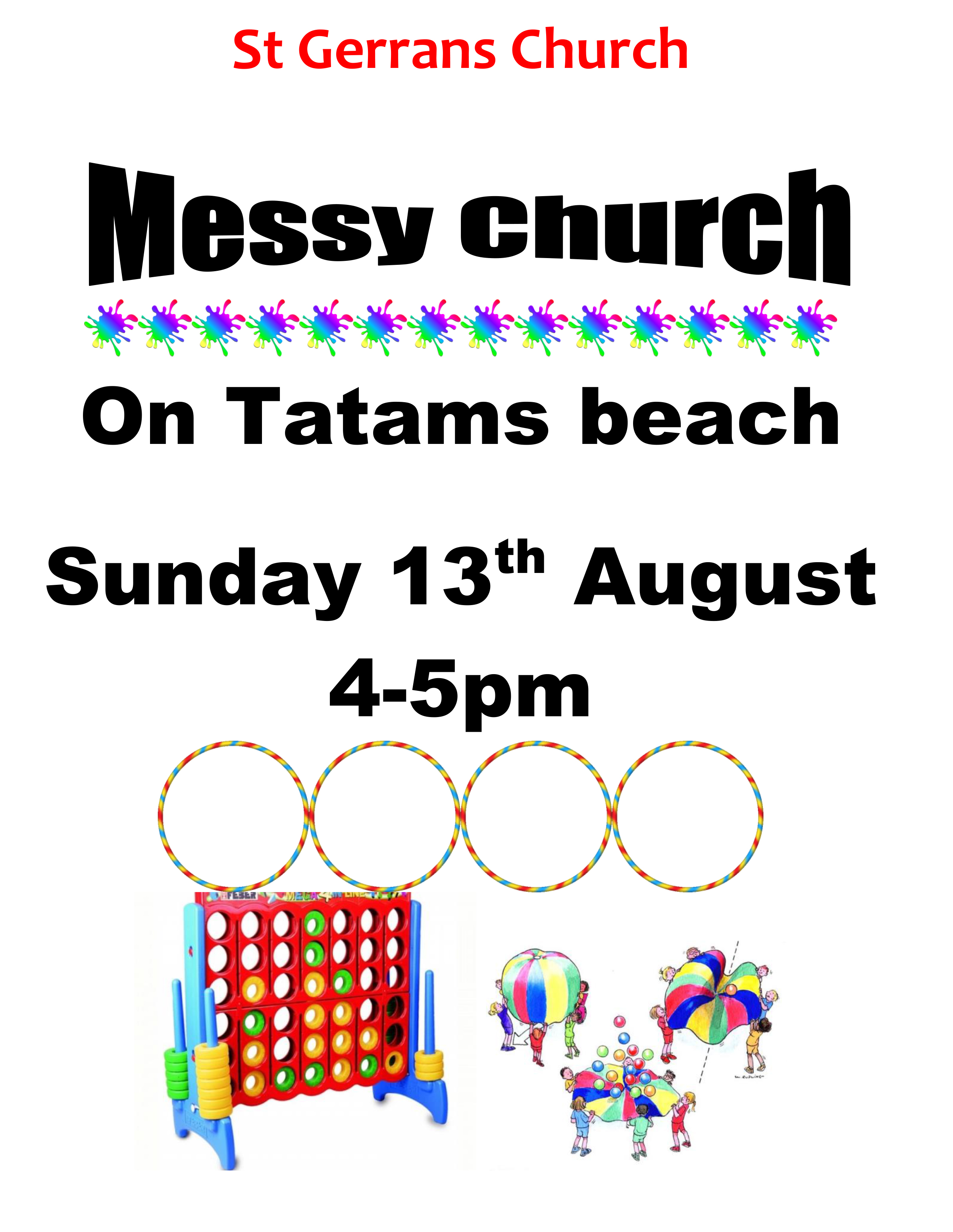 messy church poster on the beach